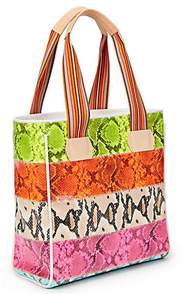 Consuela Roxie Multi-Colored Snake Print Classic Tote Bag