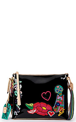 Consuela Poppy Black with Patches Crossbody Purse