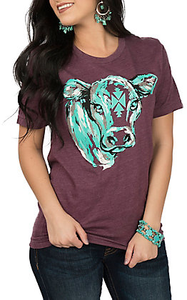 Crazy Train Women's Plum Conway Calf Short Sleeve T-Shirt