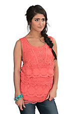 Anne French Women's Coral Crochet Sleeveless Fashion Top