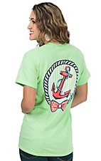 Girlie Girl Originals Women's Lime with Coral Anchor Print Short Sleeve T-Shirt