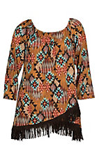 James C Women's Brown with Aztec Print and Fringe Fashion Shirt -  Plus Size