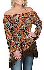 James C Women's Brown with Aztec Print and Fringe Fashion Shirt