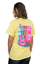Girlie Girl Originals Women's Yellow Raised on Country Music Screen Print Short Sleeve T-Shirt