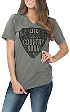 Ruby's Rubbish Heather Grey Life is Like a Country Song S/S V-Neck Casual Knit shirt