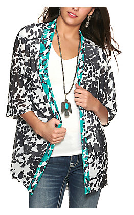Crazy Train Women's Cow Print with Turquoise Flowers 3/4 Sleeve Kimono