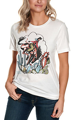 XOXO Art Co. Women's White Cowboy and Cactus Graphic Short Sleeve T-Shirt
