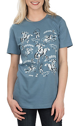 XOXO Art & Co. Women's Steel Blue Cowboy Collage Short Sleeve T-Shirt