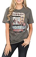 XOXO Art & Co. Women's Asphalt Cowboy Motel T-Shirt