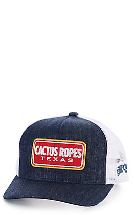 Hooey Youth Denim and White Cactus Ropes Patch Snapback Cap