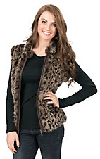 Cripple Creek Women's Leopard Print Faux Fur Sweater Back Vest
