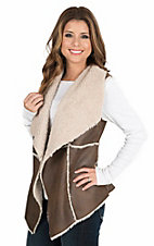 Cripple Creek Women's Chocolate with Cream Faux Shearling Open Front Vest