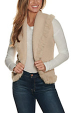 Cripple Creak Women's Ivory Crochet Knit w/ Laced Rabbit Trim Vest
