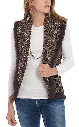 Cripple Creek Women's Chocolate Brown Knit with Rabbit Fur Trim Vest