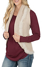 Cripple Creak Women's Ivory Crochet Knit with Laced Rabbit Trim Vest
