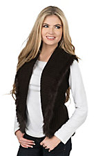 Cripple Creek Women's Chocolate Crochet with Rabbit Fur Trim Sweater Vest