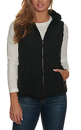 Cripple Creek Women's Black with Faux Shearling Hooded Reversible Vest