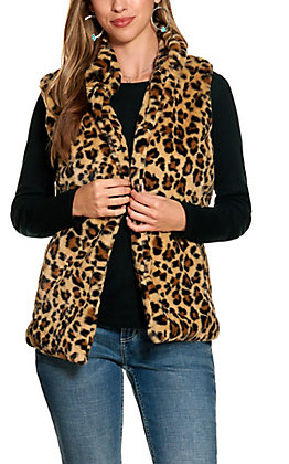 Cripple Creek Women's Faux Fur Leopard Print Vest