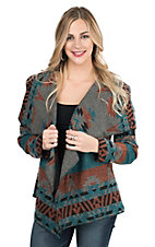 Cripple Creek Women's Grey, Blue, and Red Southwest Blanket Wrap Jacket