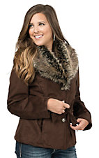 Cripple Creek Women's Chocolate Brown Belted Button Front Faux Shearling with Faux Fur Collar Coat