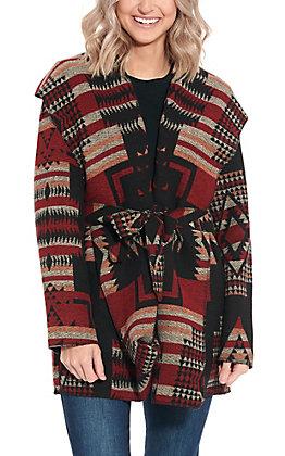 Cripple Creek Women's Red & Black Navajo Wrap Jacket