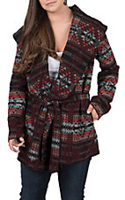 Cripple Creek Women's Navaho Blanket Wrap Hooded Jacket
