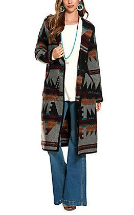 Cripple Creek Women's Grey Aztec Pattern Hooded Duster