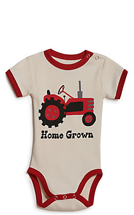 LazyOne Infant Home Grown Tractor Creeper Onesie