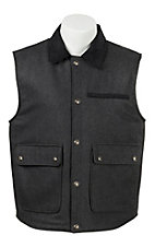 Cripple Creek Men's Dark Charcoal with Black Microsuede Trim Wool Vest