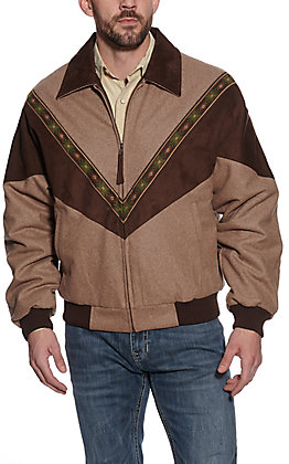 Cripple Creek Men's Melton Tan Wool and Chocolate Microsuede Concealed Carry Jacket