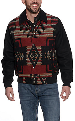Cripple Creek Men's Black & Red Navajo Blanket Jacket