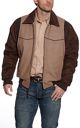 Cripple Creek Men's Melton Heather Oatmeal Brown Wool with Microsuede Jacket