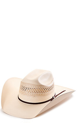 Rafter C ProFlex45 Ivory and Tan Shantung Vented Cattleman Straw Hat