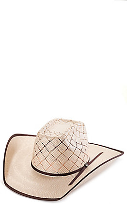 Rafter C Shantung Ivory and Tan Bound Edge Brick Crown Straw Hat