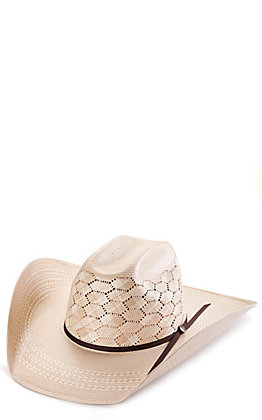 Rafter C Ivory and Tan Shantung Honeycomb Vented Cattleman Straw Hat