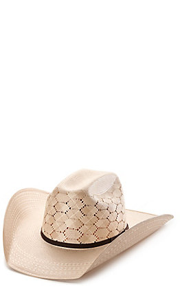 Rafter C ProFlex45 Ivory and Tan Shantung Honeycomb Vented Cattleman Straw Cowboy Hat