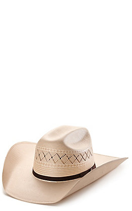 Rafter C ProFlex45 Ivory and Tan Shantung X Vent Cattleman Straw Cowboy Hat