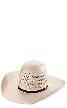 Rafter C ProFlex45 Ivory and Tan Shantung Zig Zag Vent Open Crown Straw Hat