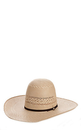 Rafter C Shantung Ivory and Tan Cattleman Crown Straw Hat