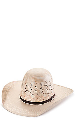 Rafter C ProFlex45 Ivory and Tan Shantung Honeycomb Vent Open Crown Straw Hat