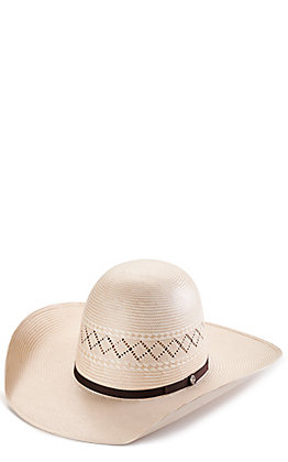 Rafter C ProFlex45 Ivory and Tan Shantung X-Vent Open Crown Straw Hat