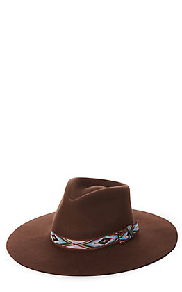 Rockin' C Women's Brown with Aztec Band Western Hat