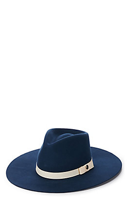 Rockin' C Women's Navy with Cream Grosgrain Ribbon Western Hat
