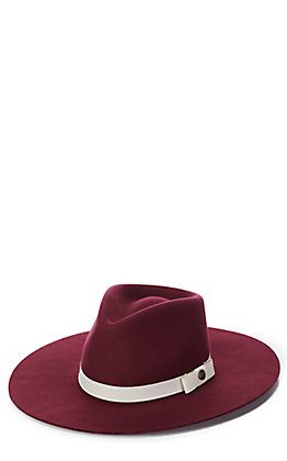 Rockin' C Women's Burgundy with Cream Grosgrain Ribbon Western Hat