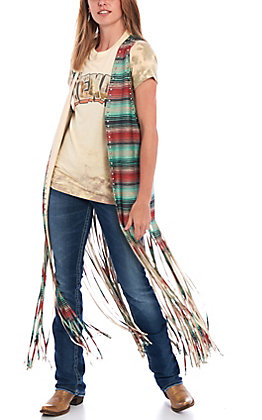 Crazy Train Women's Serape Print Beaded Fringe Vest