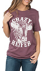 Women's Maroon Crazy Heifer T-Shirt
