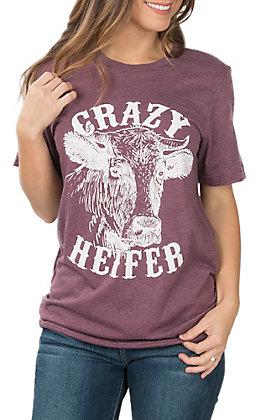 Women's Maroon Crazy Heifer T-Shirt
