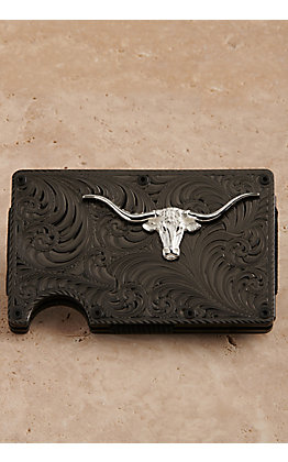 Montana Silversmiths Black Nickel Longhorn Credit Card & Cash Case