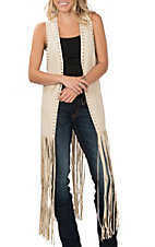 Crazy Train Women's Cream Studded Fringe Vest