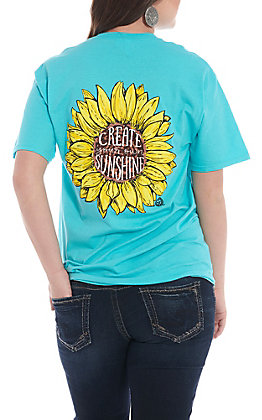 Girlie Girl Originals Women's Turquoise Create Your Own Sunshine Sunflower Short Sleeve T-Shirt